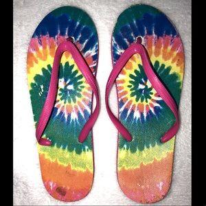 ‼️👠‼️BOGO 50% OFF. Tie-dye multi color flip flops